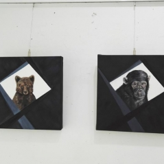 chimpance-oso-pardo-oleo-pinturas-animalistas-pintora-gabriela-del-olmo-animal-portrait-artist-retratos-animales-cuadros-animales-hiperrealismo-exposicion-pintura-respeto-concienciacion-3